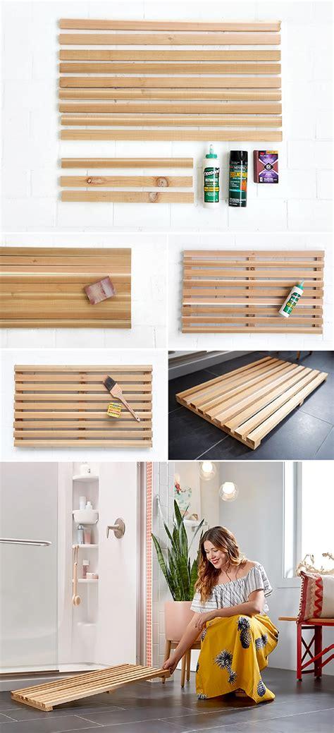 diy wooden bath mat bathroom styling