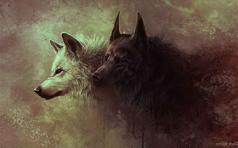 Gray And Black Wolves Painting Wallpapers Hd / Desktop And
