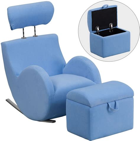 blue chair with ottoman hercules light blue fabric rocking chair with storage