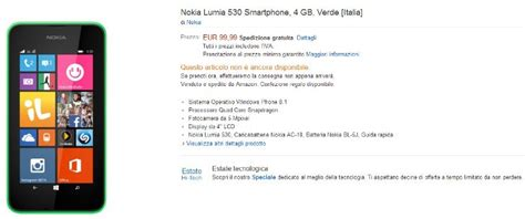 nokia lumia 530 now up for pre order in italy for 99 132
