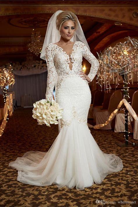 wedding dresses mermaid style lace luxury pearls
