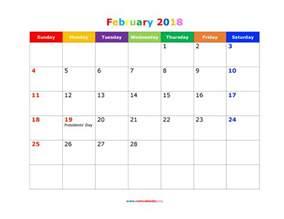 Calendar February 2018 Holidays