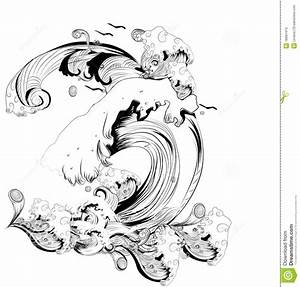 Abstract Black And White Waves Stock Illustration - Image ...