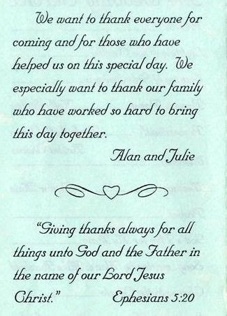 thank you wedding notes wedding program thank you exles