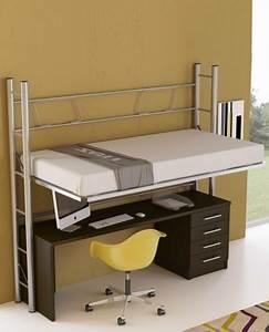 Lit Mezzanine Double : bureau sous lit mezzanine excellent bureau pour lit ~ Premium-room.com Idées de Décoration