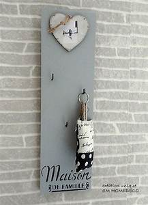 Porte Clé Mural Bois : cadre porte cl s mural bois massif deco vintage r tro fait main relooking cm homedeco ~ Nature-et-papiers.com Idées de Décoration