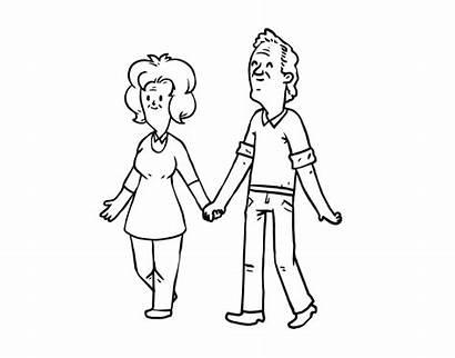 Abuelos Parents Dibujos Grands Colorear Grandparents Paseando