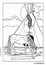 Coloring Indian Pages Horse American Adult Horses Colouring Books Native Tribe Adults Cheval India Sheets Indien Americans Hellokids Thanksgiving Indians sketch template