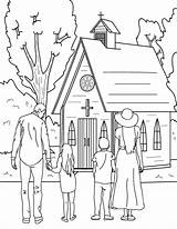 Church Coloring Going Printable Drawing Museprintables Sunday Easy Mu sketch template