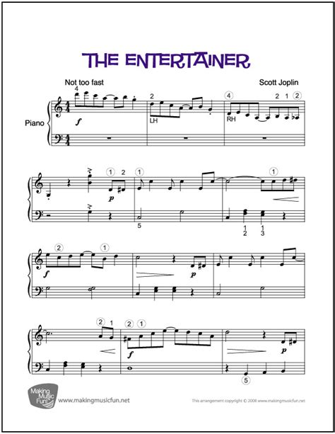 It's only recently been popular since 1973, though. The Entertainer (Joplin)   Easy Piano Sheet Music (Digital Print)