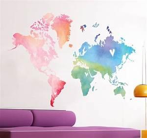 Carte Du Monde Sticker : sticker carte du monde aquarelle tenstickers ~ Dode.kayakingforconservation.com Idées de Décoration
