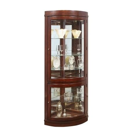 pulaski chocolate cherry curved corner curio cabinet 20852