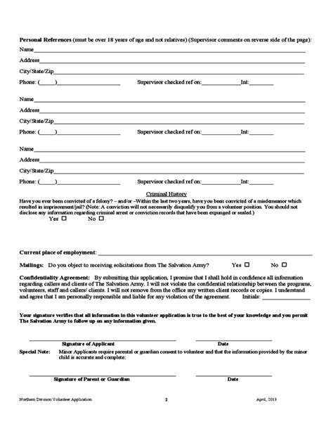 salvation army volunteer application form sample