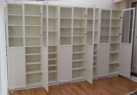 Ikea White Billy Bookcases With White Panel/glass Oxberg
