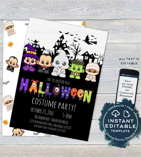 Halloween Costume Party Invitation Editable Halloween