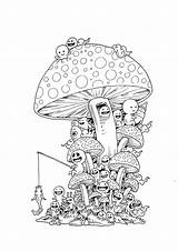 Doodle Google Coloring Pages Doodles Drawing Invasion Adult Drawings Books Graffiti Colouring Mushroom Cartoon วย นหาด Trippy Sketch Ebook Mushrooms sketch template