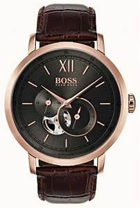 Range Montre Homme : hugo boss mens signature automatic brown leather watch 1513506 first class watches ~ Teatrodelosmanantiales.com Idées de Décoration