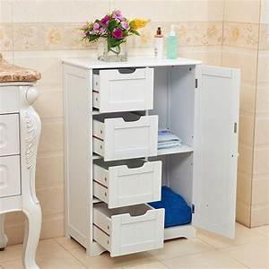 White, Wooden, 4, Drawer, Bathroom, Storage, Cupboard, Cabinet, Free, Standing, Unit, Bath