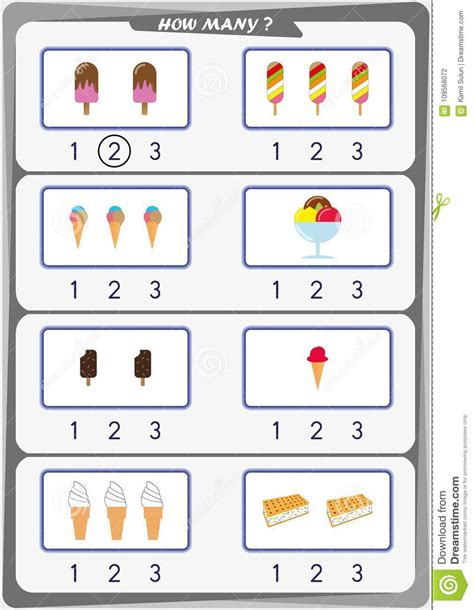 worksheet for count the number of objects learn the numbers 1 2 3 stock vector