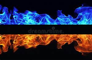 Blue And Red Fire On Black Background Stock Photo - Image ...