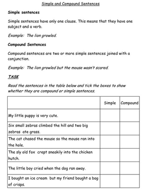 simple  compound sentences worksheet  jessplex