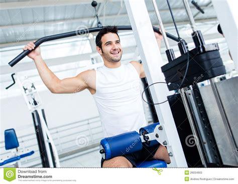 fit man   gym stock image image  latin happy