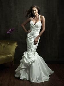 sexy fitted mermaid halter taffeta wedding dress with ruching With fitted mermaid wedding dresses