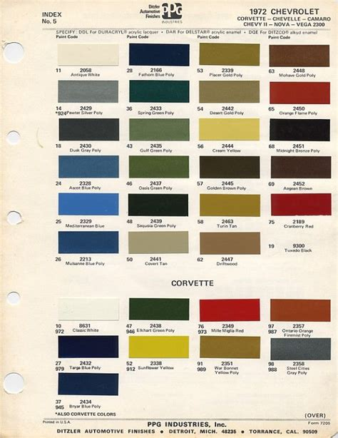color chip selection 1972 chevy chevelle paint code