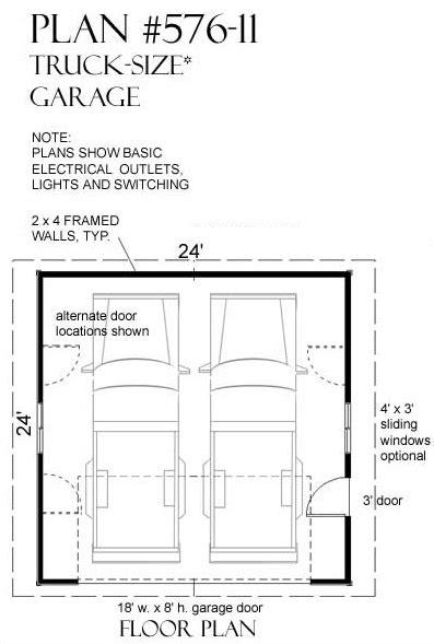 2 Car Truck Size Garage Plan by Jay Behm 576-11 - 24' x 24'