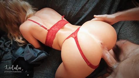 hot sexy girlfriend in red lingerie fuck and squirts