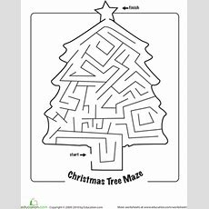 Christmas Maze  Worksheet Educationcom