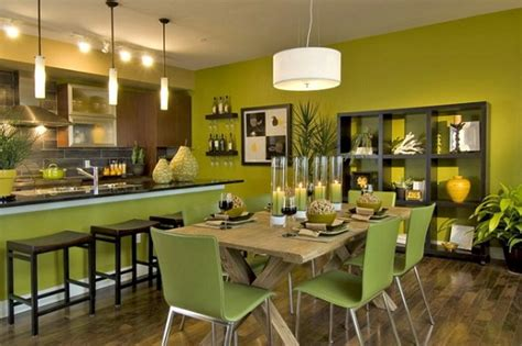 green paint color for dining rooms with kitchen wall