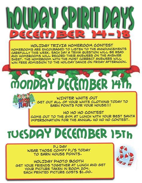 Winter spirit week schedule, christmas spirit week planner, holiday theme, itinerary poster, week schedule, event flyer, template, pto, pta. Ness Middle School: December 2015