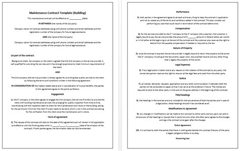 building contract template 5 free maintenance contracts sles and templates small business resource portal