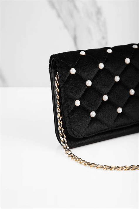 ami black pearl studded velvet cross body bag  tobi