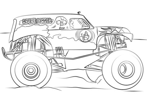 grave digger monster truck coloring page  printable coloring pages