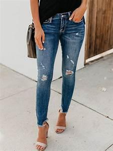 Jean Bleu Troué Femme : jeans longue crayon trou avec poches fermeture clair slim mode femme bleu jeans bas ~ Melissatoandfro.com Idées de Décoration