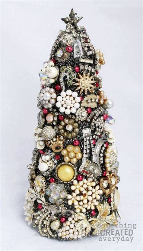 pinterest christmas made out of tulldecorating ideas jewelry tree use styrofoam cone jewelry tree jeweled trees