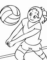 Volleyball Coloring Pages Badminton Healthy Soccer Printable Ball Credit Bump Playing Bumping sketch template