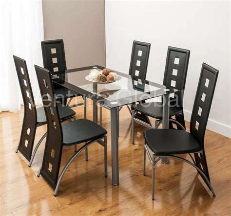 glass dining room table set     faux leather chairs