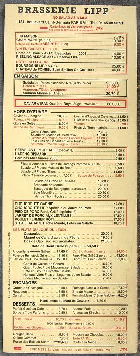cuisine elite avis brasserie lipp restaurant menu