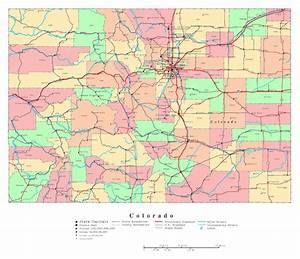 Large detailed administrative map of Colorado state with ...