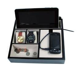 mens black wooden valet jewelry box cell tablet charging