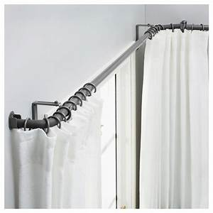 Ceiling mounted corner shower curtain rod curtain for Curtain rods brackets accessories