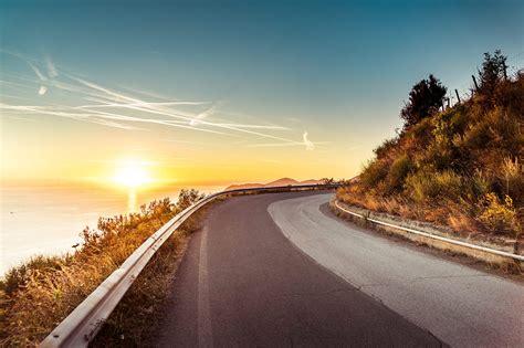 coastline sunset road  stock photo picjumbo