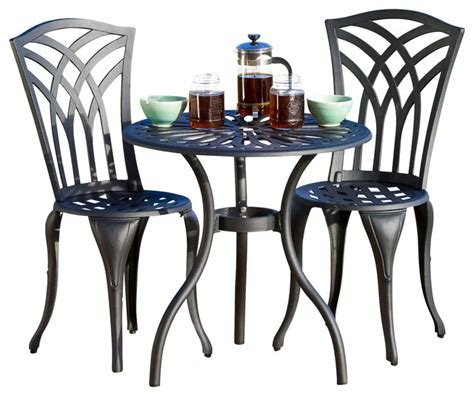 astair 3pc black and sand cast aluminum outdoor bistro set