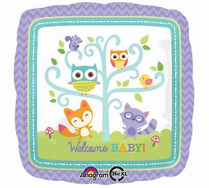 "Woodland Creatures Fox Owl Squirrel ""WELCOME BABY"" Shower"