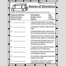 Genre Assessment Or Worksheet  Projects To Try  Assessment, Worksheets, Realistic Fiction
