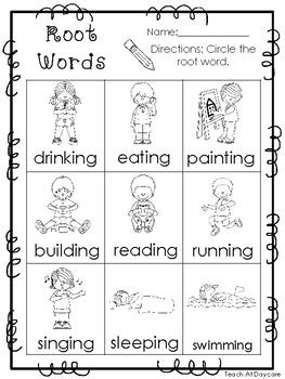 10 root words printable worksheets in pdf file kdg 2nd