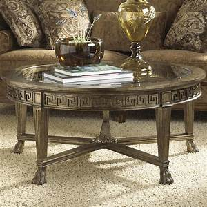 Grecian style round coffee table with glass top by fine for Circular glass top coffee table
